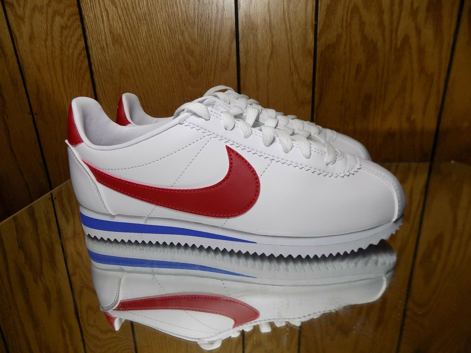 NIKE WOMEN'S CORTEZ LEATHER WHITE VARSITY RED VARSITY ROYAL 807471-103 Comfortable Special limited time