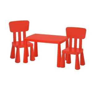 Mammut Ikea Kinder Tischstuhl Set Rot Drinnendraußen Sitz Möbel