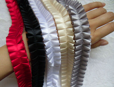 "1"" (W) Box Pleated Ruffle Satin Ribbon Lace Trims Tape- Color Choice-T589"