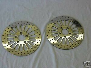 2000-039-LATER-039-HARLEY-11-5-HD-BRAKE-ROTORS-FXSTD-DUECE-F-R-WITH-CHROME-BOLTS