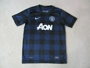 Nike-Manchester-United-Soccer-Jersey-Youth-Large-Blue-Black-Futbol-Kids-Boys