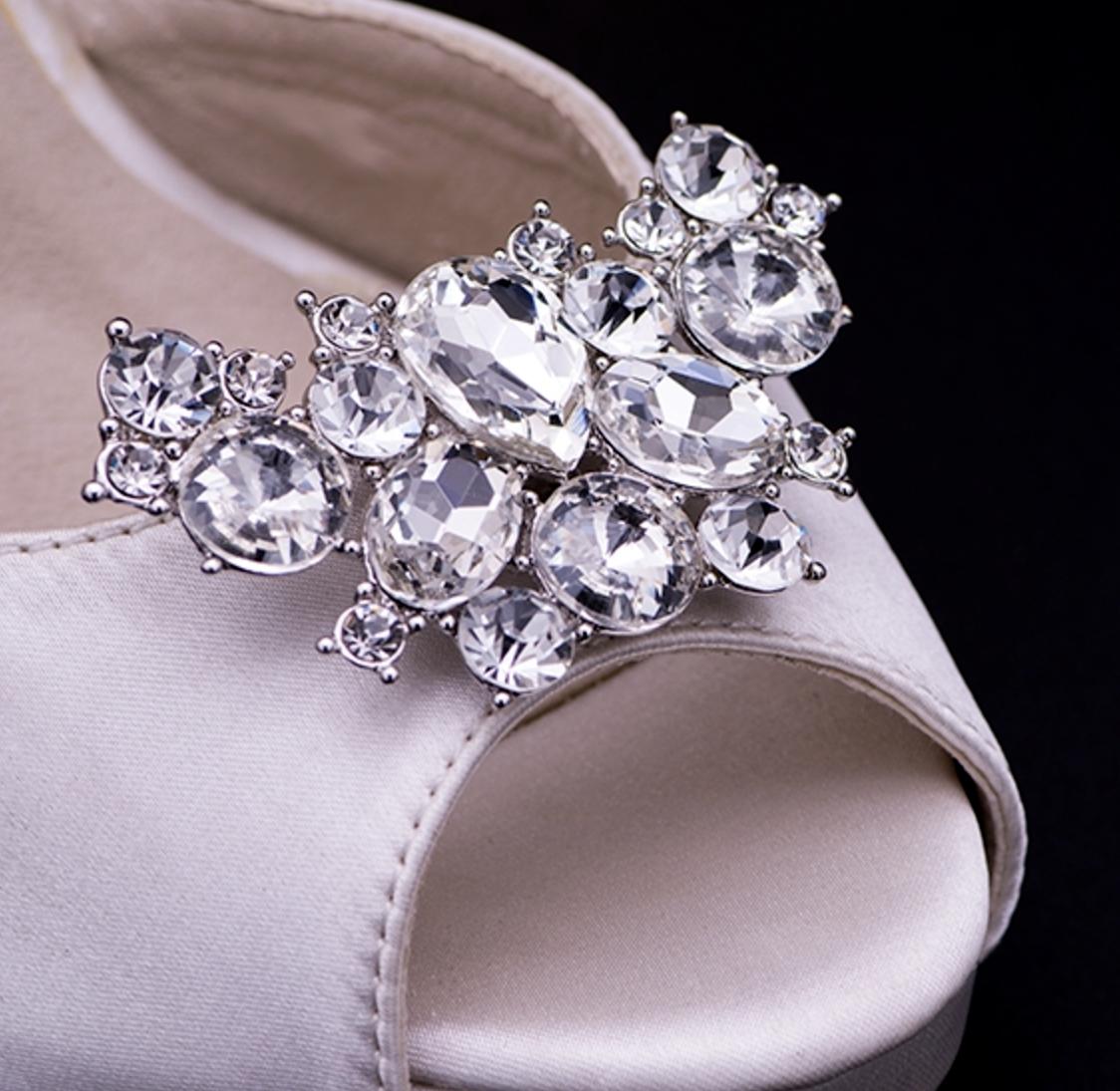 2 Pcs Rhinestone Crystal Flower Shoe Clips Silver Shoes Charm Jewellry