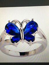 BUTTERFLY RING LONDON BLUE TOPAZ STERLING 4.95 T.C.W. SIZE 8/9/10