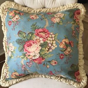 Details About French Country Blue Fl Throw Pillow Cover 22 X