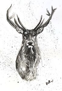 PRINT-of-lnk-amp-watercolour-art-painting-Stag-black-amp-white-contemporary-decor