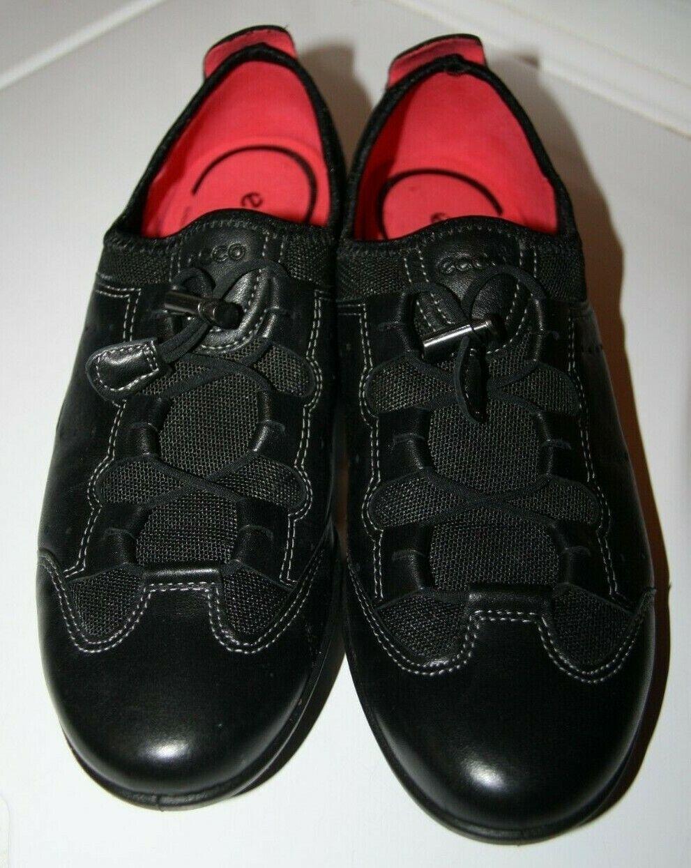 Ecco Women's 40 Black Lace Up Leather Shoes, Comfort Foam