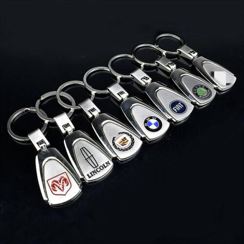 Silver Metal Zinc Alloy Car Logo Keychain Silver Keyring 360° Spin Key Chains