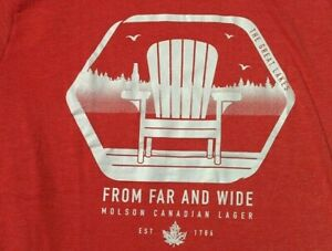 NWOT Molson Canadian MUSKOKA CHAIR Cottage GREAT LAKES Red Heather T SHIRT LARGE