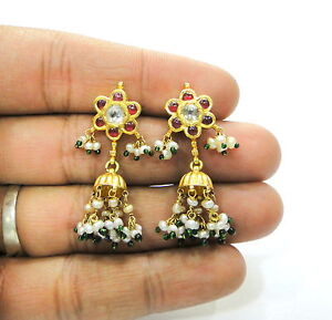 Vintage antique handmade solid 20K Gold jewelry Diamond polki ruby