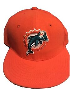 Miami-Dolphins-New-Era-NFL-59FIFTY-Orange-6-3-4-Fitted-Baseball-Cap-Hat-EUC