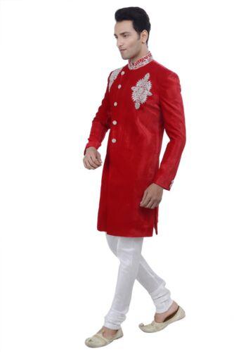 Men/'s Indian Gold Indo Western Sherwani 2pc Suit Worldwide Post