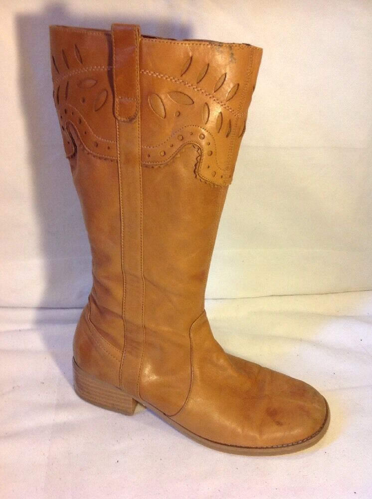 Marks&Spencer Brown Mid Calf Leather Boots Size 6