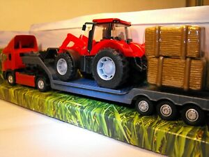 TOY-ARTIC-LORRY-JCB-TRANSPORTER-MODEL-HEAVY-GOODS-LOW-LOADER-TRUCK-ARTIC-RED