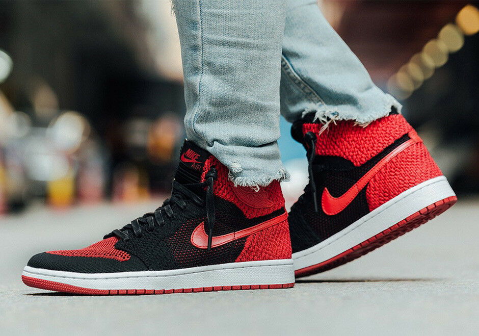 Nike Air Jordan 1 Retro High Flyknit size 11. Banned Bred Black Red 919704-001
