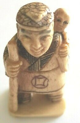 Dancing Geisha  W Fans Okimono  Netsuke Hand Carved Vintage Figurine  1211
