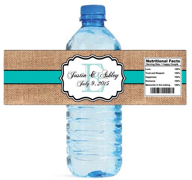 100 burlap blue stripe wedding shower water bottle labels bridal party