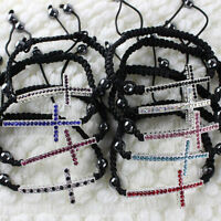 CROSS CURVED SIDE WAYS CRYSTAL BEADS CONNECTOR MACRAME ADJUSTABLE CHARM BRACELET