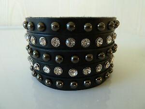 2x wristbands 2x Womens leather Biker//Skull//Gothic black high quality bracelet
