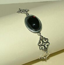 LACY FILIGREE VICTORIAN STYLE DEEP RED ACRYLIC CRYSTAL SILVER PLATED BRACELET