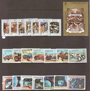 Laos-Sc-546-583-MNH-1984-issues-3-cplt-sets-PAINTINGS-SPACE-AUTOS