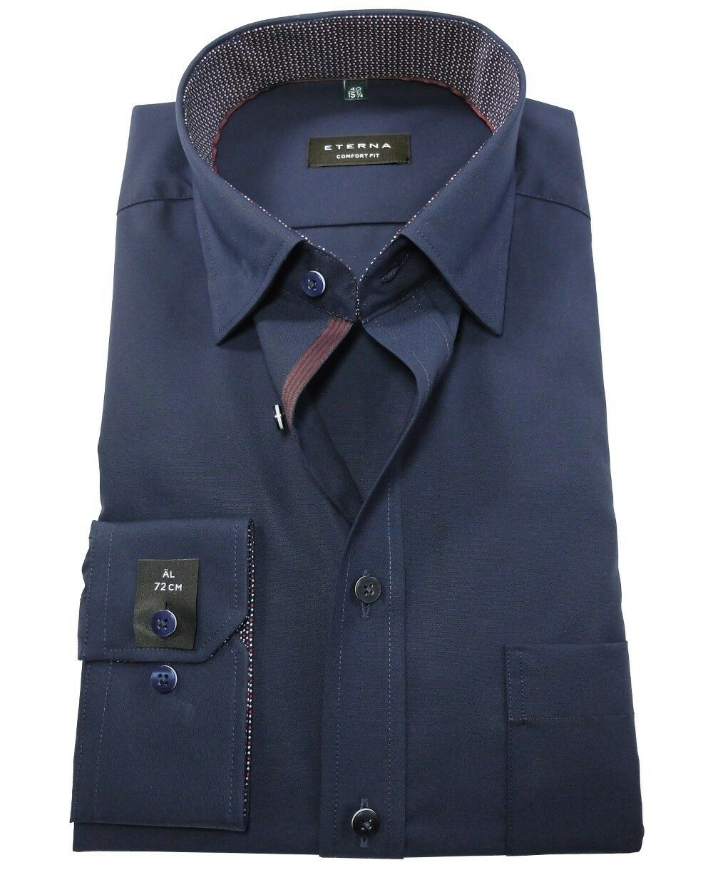 Eterna Comfort Fit Langarmhemd dunkelblau extralanger Arm 72 cm Gr. 40 41 42