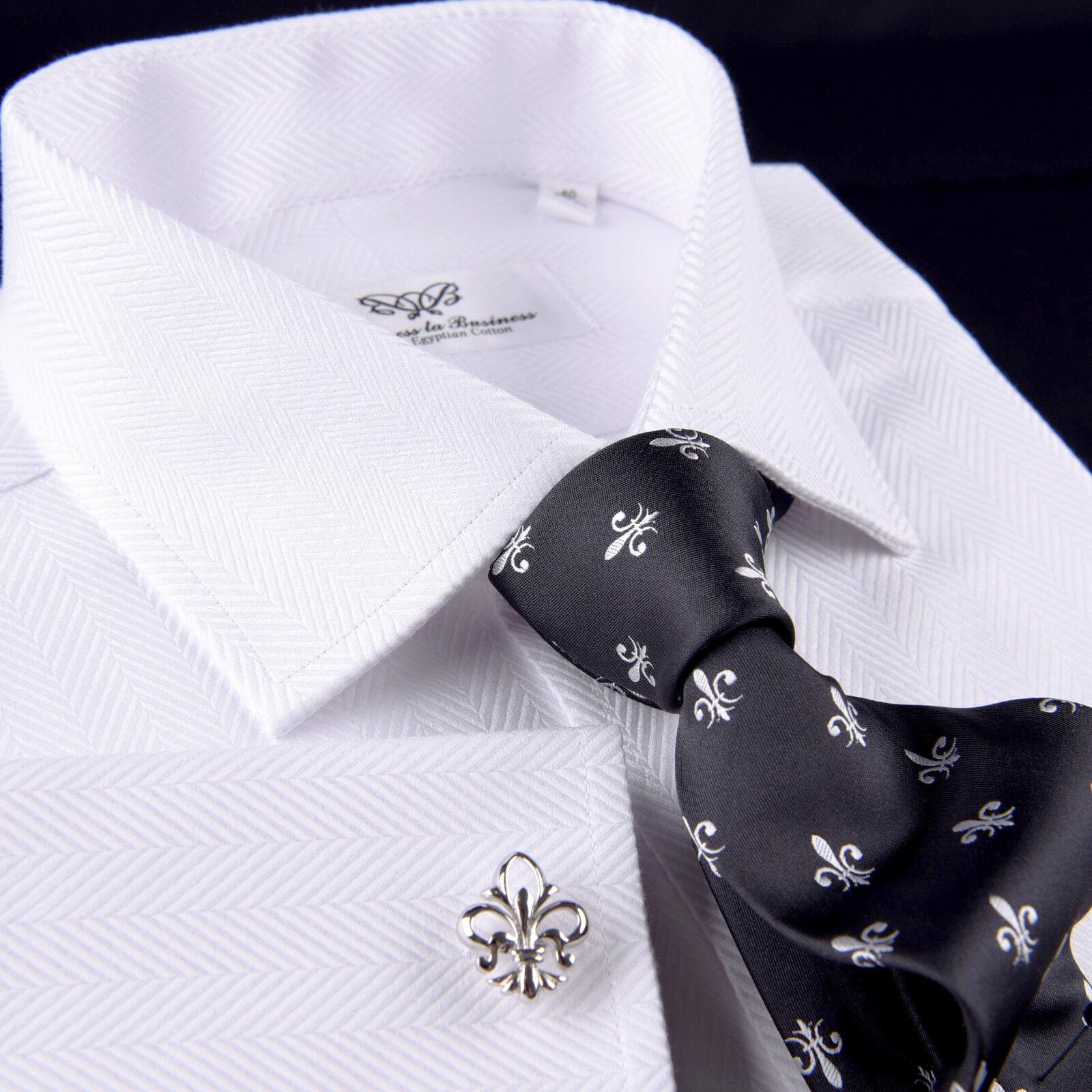 Wide White Herringbone Twill Luxury Dress Shirt Formal Egyptian Twill Business