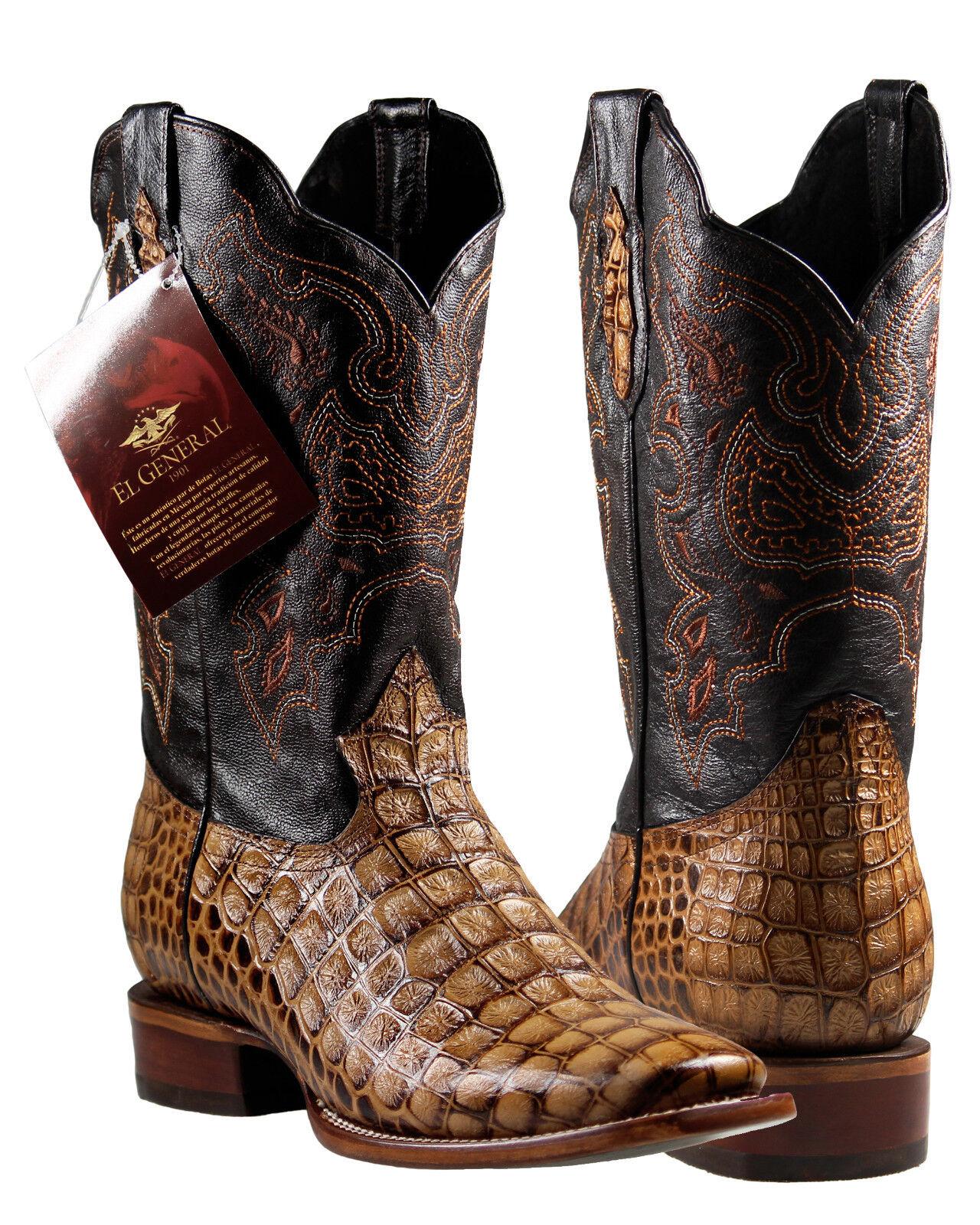 Men's Cowboy Rodeo Boots El General Caiman Print Cognac Imitacion Caiman