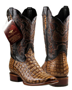 f8d3e246d30 Details about Men's Cowboy Rodeo Boots El General Caiman Print Cognac  Imitacion Caiman