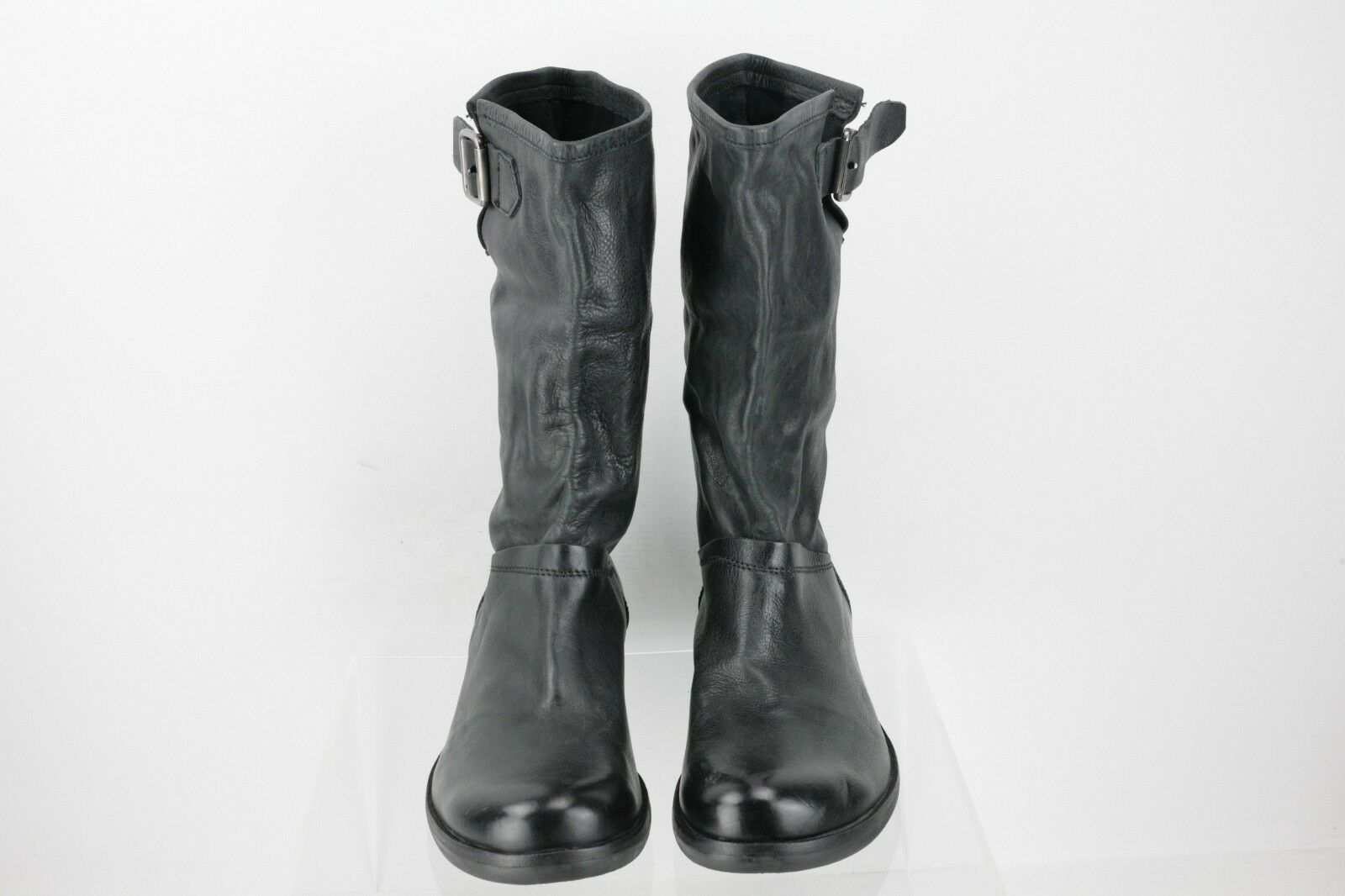 KBR Black Black Black Leather Mid-Calf Boots Women's shoes Size 40 US 10 M NEW 2d98eb