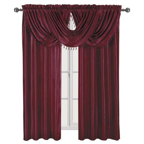 Soho Faux Silk Rod Pocket Waterfall Window Treatment Single Panel Or Valance