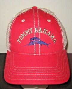 9d1bfec326251f Tommy Bahama Mens Mesh Trucker Cap Hat Marlin Logo Red Adjustable ...