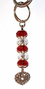 Valentines-Keyring-Silver-Red-Beads-Love-Heart-Charm-Free-Gift-Bag
