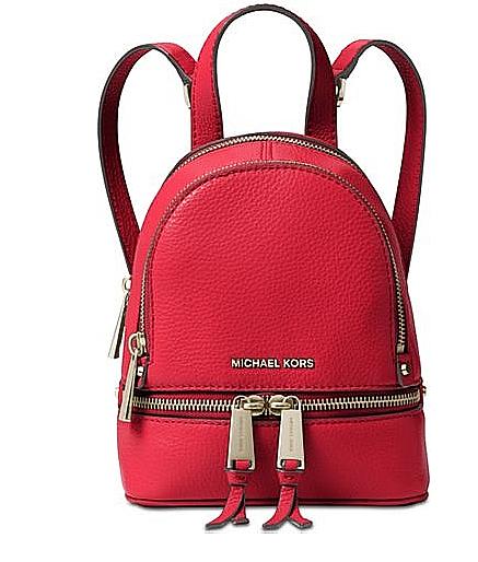 adba2120ed2f Michael Kors Messenger Backpack Rhea Red Leather XS Mini 30t6gezb1l ...