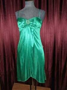 NEW Jodi Kristopher Emerald Green Spaghetti Strap Dress Junior S NWT Closet133*