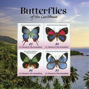 St Vincent & Grenadines 2019 Neuf Sans Charnière Butterflies Of Caribbean Eyemark 4 V M/s Timbres-afficher Le Titre D'origine