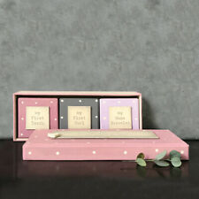 East Of India Personalised Baby Girl Tooth and Curl Triple Box Set Pink 1560-P