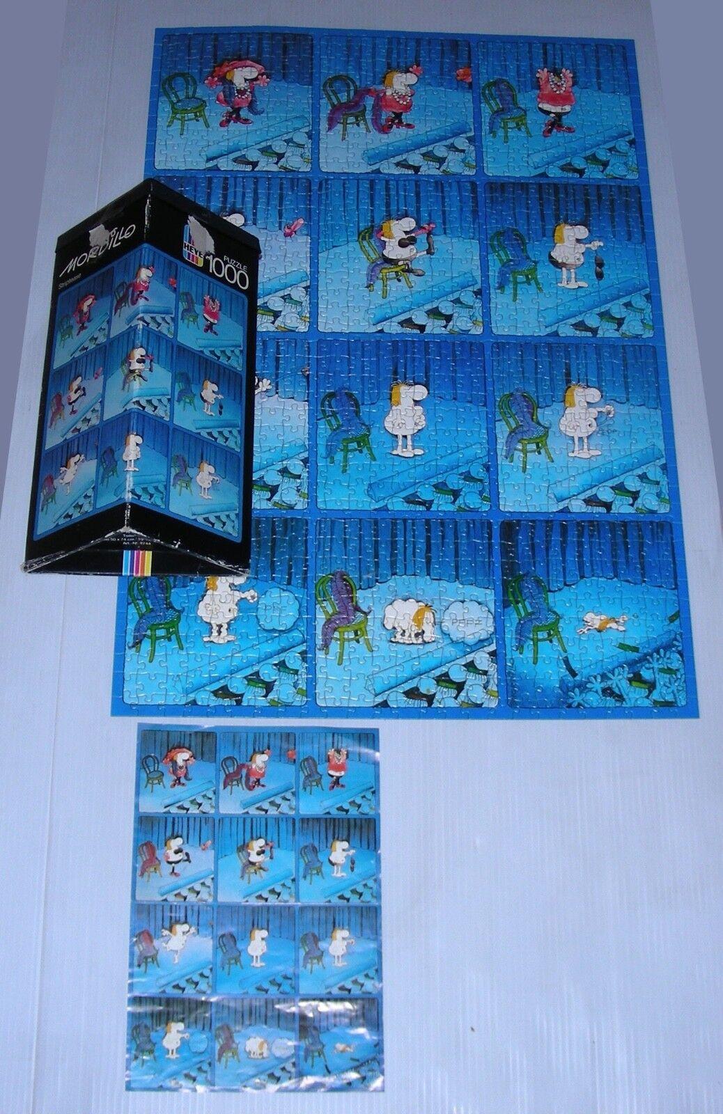 MORDILLO puzzle STRIPTEASE heye 1000 complete humor cartoon cartoon cartoon Germany 1984 c5233a