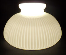 "New 10"" Opal White Glass Low Top Oil Kerosene Ribbed Student Lamp Shade USA Made"