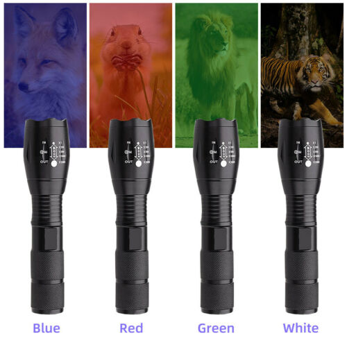 Waterproof Torch Tactical Flashlight Red Green Blue White 4 in 1 Hunting Light
