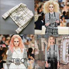 NEW Chanel 2015 CC Button Little White Gold Cream Tweed Jacket Blazer Sz FR42 44