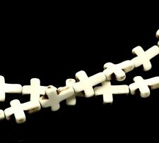 1 Strand Of Cream Dyed Turquoise Cross Beads Beading Howlite Approx 25pcs T88