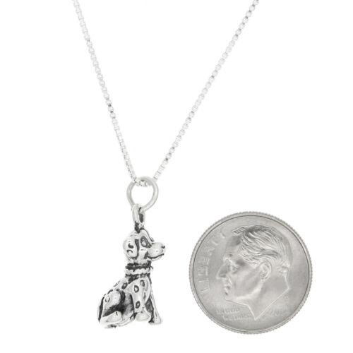 Sterling Silver Dalmatian Chiot Chien Charme Avec Boîte Chaîne Collier