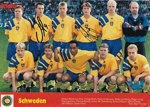 Fussball - Nationalteam Schweden WM 1994, 2 Originalunterschriften!