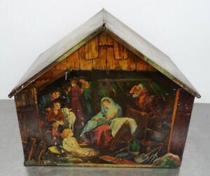 Antike-Lebkuchen-Blechdose-Deckeldose-lithographiert-Weihnachtskrippe-Blech-Dose
