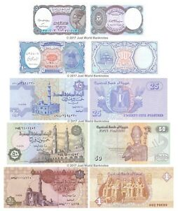 Egypt-5-10-25-50-Piastres-1-Pound-Set-of-5-Banknotes-5-PCS-UNC