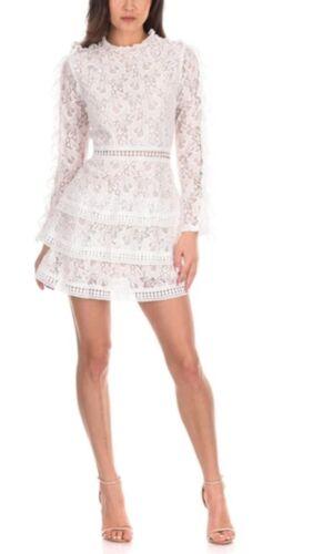 New AX Paris Ladies Cream Lace Tiered long Sleeve Womens Mini Nude Lining Dress