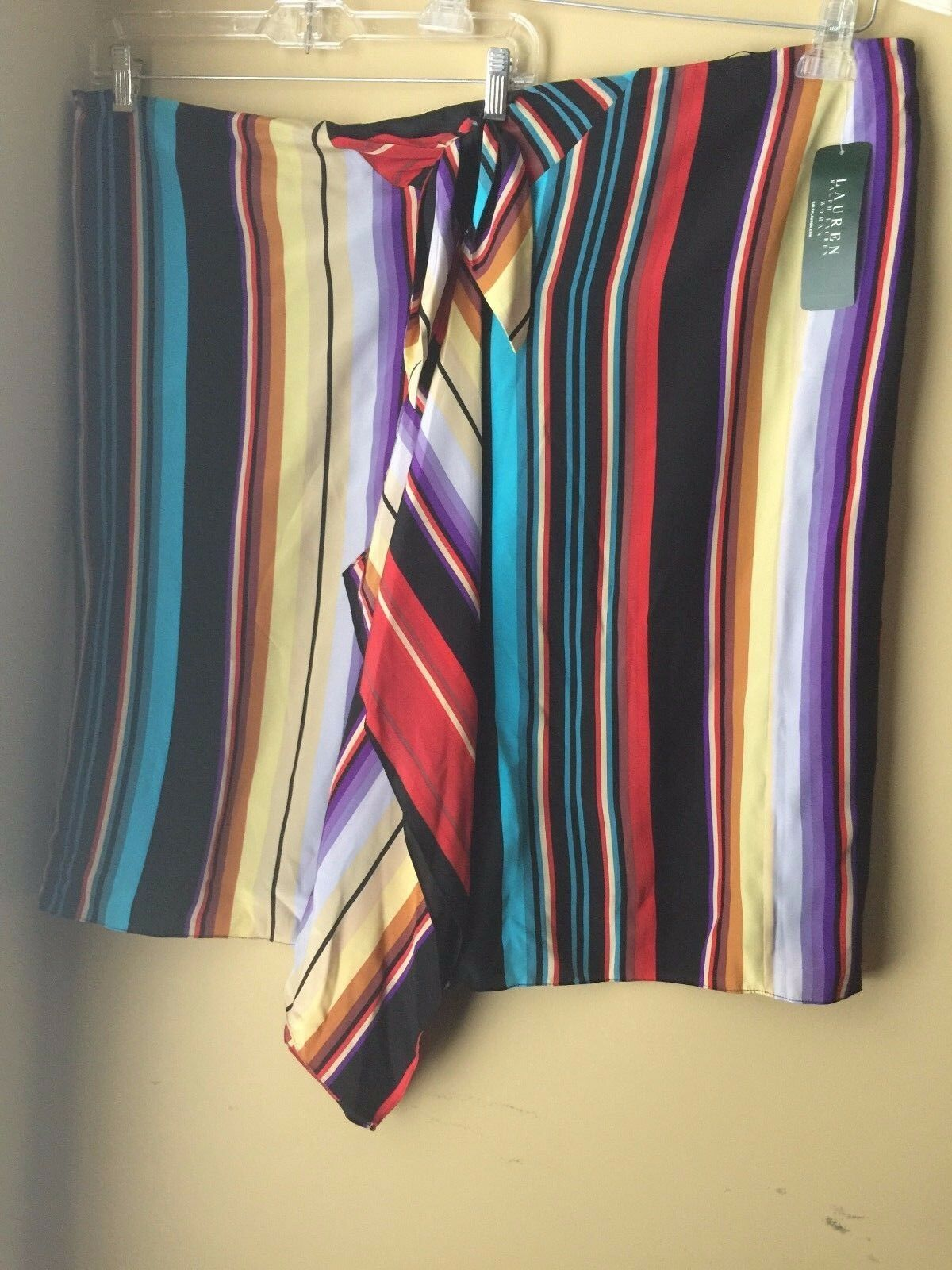 Lauren Ralph Lauren Multi color Striped Silk Tie Draped Front Skirt Plus Size 3X