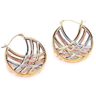 3 Tone 9ct Tri Gold Hexagonal Creole Hoop Earrings Jewellery