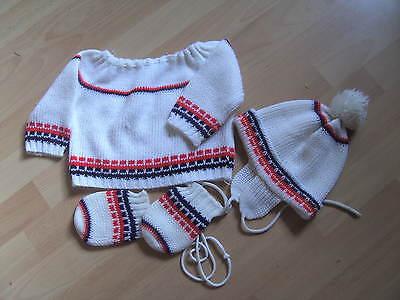 Baby Pullover/mütze/handschuhe Ca. Gr. 86 Weiß/muster - Vintage Mit Mängeln