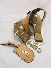 HARTMANN authentic very good sage tan webbed nylon luggage tag shoulder strap